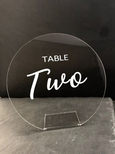 Round Wedding Table Numbers in Clear Acrylic in Calibre /& Magic Font