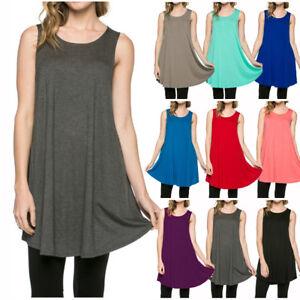 USA-Women-Long-Tunic-Casual-Dress-Tank-Top-Sleeveless-Scoop-Neck-Shirt-S-M-L-XL