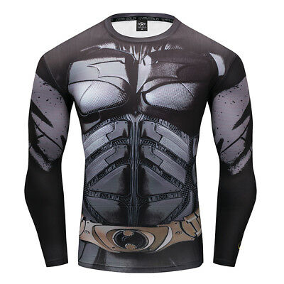 Men Cycling T-shirt Long Sleeve Super Hero Marvel Compression Sport 3D Shirts