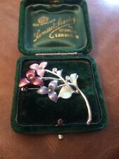 Floral Silver Enamel Brooch Pin With Sparkly Crystal Accents Floral Flowers