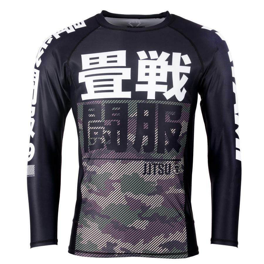 Tatami Mens Essential Camo Rash Guard Green Compression BJJ Gym Jiu Jitsu Top