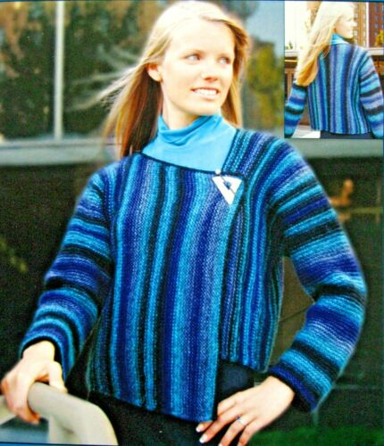 ASSYMENTRICAL COLOR ON THE SIDE JACKET tO KNIT in BULKY WT YARN by  FIBER TRENDS