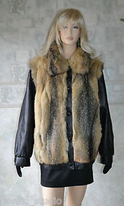 Xl Size Leather Jacket New Vest Coyote And Black Fur Genuine Gorgeous PH46gg