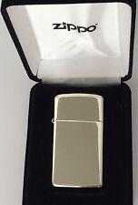 High Polished Slim Zippo Sterling Silver Lighter, Item #1500, Engraved Free, NIB