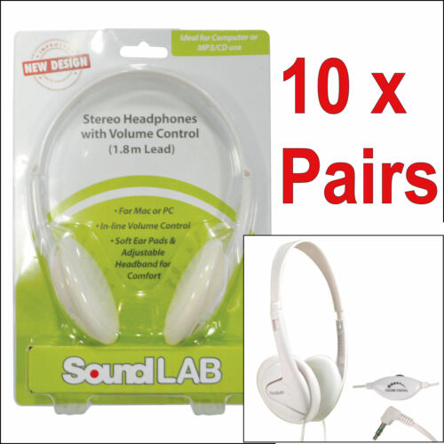 10 x Pair White Computer Headphones Lightweight Volume Control Computer PC Cheap