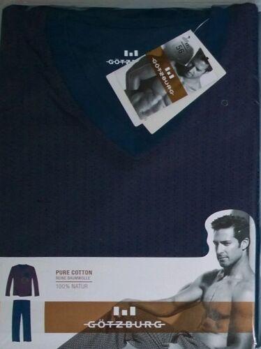 GÖTZBURG Herren Pure Cotton Schlafanzug//Pyjama Grau//Grün Hose Langarm T-Shirt