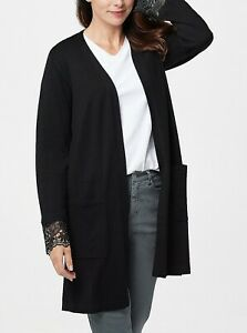 B-346-Susan-Graver-Rayon-Nylon-Sweater-Cardigan-with-Lace-Cuffs-BLACK-size-L