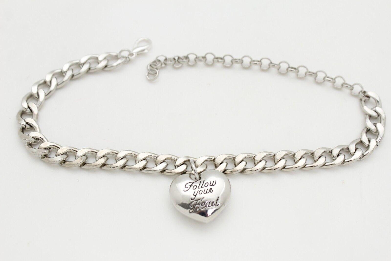 Women Silver Metal Chain Boot Love Bracelet Anklet Shoe Charm Follow Your Heart