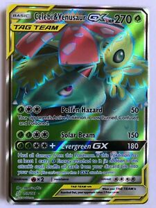 Celebi-amp-Venusaur-GX-FULL-ART-ULTRA-RARE-224-236-SM-Tag-Team-Up-Pokemon-NM-Holo