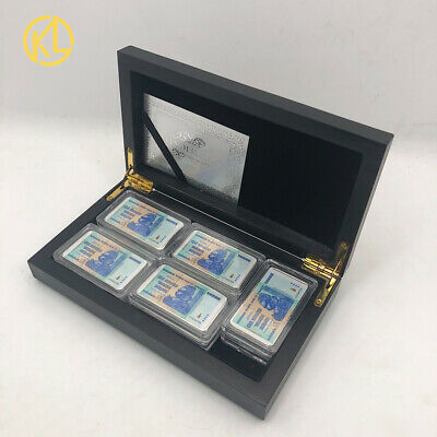 10pcs Sliver Plated Zimbabwe One Hundred Trillion Dollars Bar Metal Coin in box