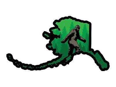Bumper Sticker Oklahoma State Shape with Bigfoot