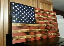 US Wooden Primitive Wood American Flag Distressed Rustic Wall Sign