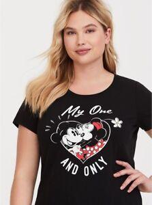 7122c3ad TORRID womens 2X 18-20 Top Black Tee Disney Mickey Minnie Mouse ...