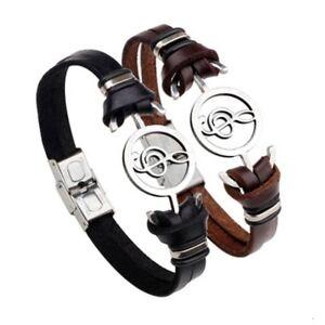 Bracelet para hombre mujer de cuero acero inoxidable notas musicales Moda Casual