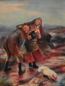Rustic-Figures-with-Livestock-Windswept-Moorland-Watercolour-Painting-AG-1909