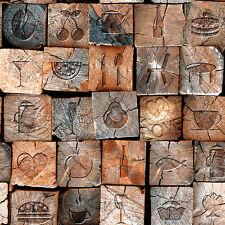 3D Effect Faux Wood Look Mural Wallpaper Rolls VInyl Decor Backdrops Barn Rustic