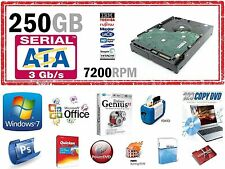 "250GB DESKTOP SATA 3.5"" HARD DRIVE WINDOWS-7 64BIT OFFICE AD0BE PRO PHOTO ROXIO"