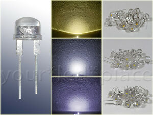 8mm-High-POWER-LED-0-5W-WEIss-warmweiss-purweiss-kaltweiss-120-Straw-Hat-Kurzkopf