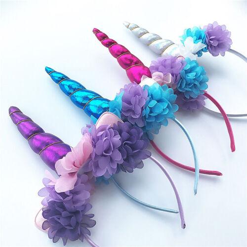 Unicorn Horn Flower Headband Fancy Halloween Kids Adult Party Magical Decor