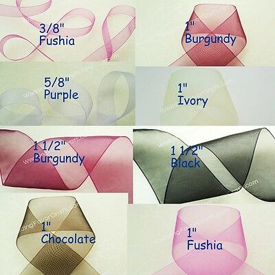 "10 yards Organza Ribbon Scrapbooking 3/8"" 5/8"" 1"" 1 1/2"" Gift Wrap Party Favor"