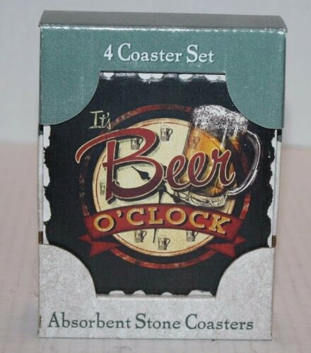 NIB Highland It/'s Beer O/'Clock Absorbent Stone Coasters Set of 4 FREE Shipping!!