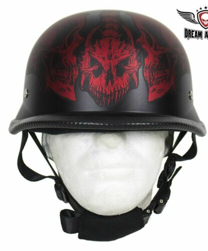 MOTORCYCLE RIDING GERMAN BURGANDY WINE SKULL GRAVEYARD NOVELTY HELMET NOT DOT
