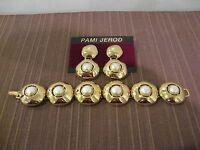 Bracelet And Earrings Fashion Jewelry Set, Gold Toned Metal W. Faux Pearl,