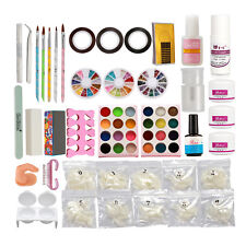 Full Nail Art Set Acrylic Powder Primer Glitte 500pcs Tips Brush Glue Dust KIT