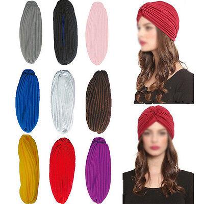 Lady Cap Turban Head Wrap Band Chemo Bandana Hijab Pleated Indian Headband Hat