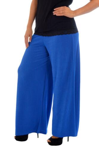 Womens Plus Size Trousers Ladies Pants Palazzo Wide Leg Crepe Elastic Nouvelle