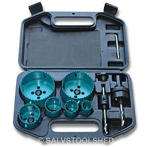 Hole-Saw-Set-10-Piece-Bi-Metal-HSS-Holesaw-Professional-Plumbing-Electricians