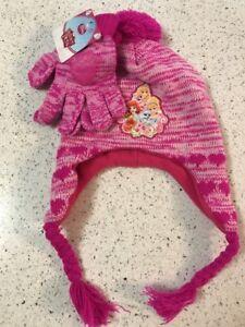 27ede64bc4e DISNEY PRINCESS PALACE PETS Pink Knit Winter Hat   Gloves w  Pom-Pom ...