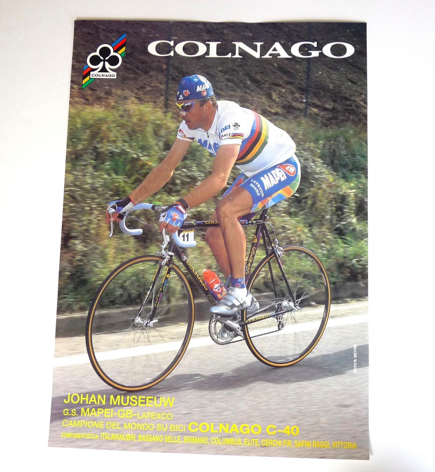 Colnago Poster Johan Museeuw Colnago C40 33x47cm ORIGINAL1996 Mapei NOS