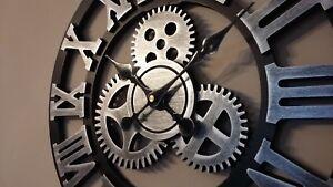 Orologio-muro-parete-silenzioso-40cm-argento-shabby-chic-antico-40cm-meccanismo