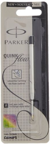 2x Parker Quink Flow Ball Pen Refill Brand New Sealed Black Ink,Fine Point