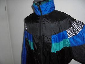 vintage-80s-Nylon-Jacke-oldschool-Sportjacke-80er-Jahre-Trainingsjacke-glanz-XL