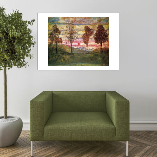 Egon Schiele Four Trees 1917 Vintage Wall Art Poster Print Picture Giclee