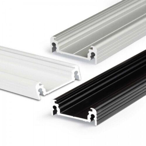 2m LED Aluprofil SURFACE14 Aufbauprofil eloxiert schwarz weiß Leiste U-Profil