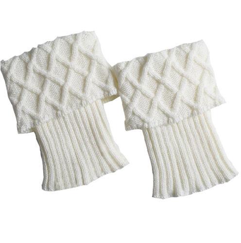 Women Ladies Crochet Knitted Boot Cuffs Winter Leg Warmers Socks Ankle Toppers