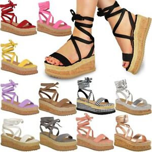 df42a97856d Image is loading Womens-Ladies-Flatform-Cork-Espadrille-Wedge-Sandals-Ankle-