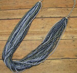 Long-Multi-Strand-Blue-and-Grey-Color-Seed-Bead-Statement-Necklace-NEW