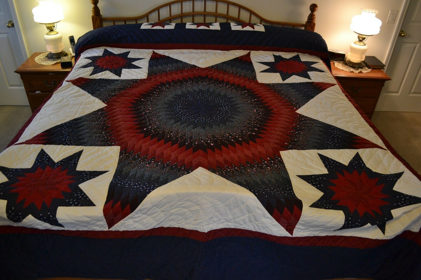 NEW Amish Handmade Star in Stars All Handquilted  109x117