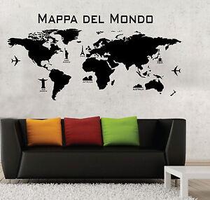 Wall Stickers Adesivi Murali Mappa Del Mondo Cartina World