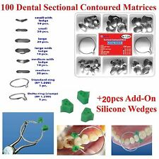 100 pcs Dental Sectional Contoured Matrices Matrix Ring + 20 Silicone Wedges TOR