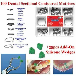 100 Pcs Dental Sectional Contoured Matrices Matrix Ring