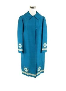 Turquoise-blue-ivory-wool-blend-LEVANTIS-long-sleeve-embroidered-trim-vintage-co