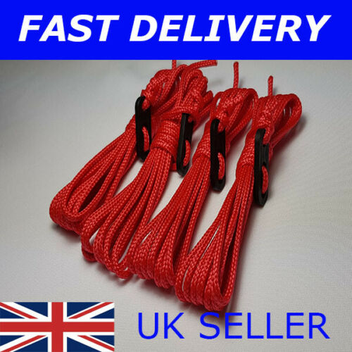 X4 RED Guy Line Ropes 3 Metres Tent Camping Gazebo Rope Paracord