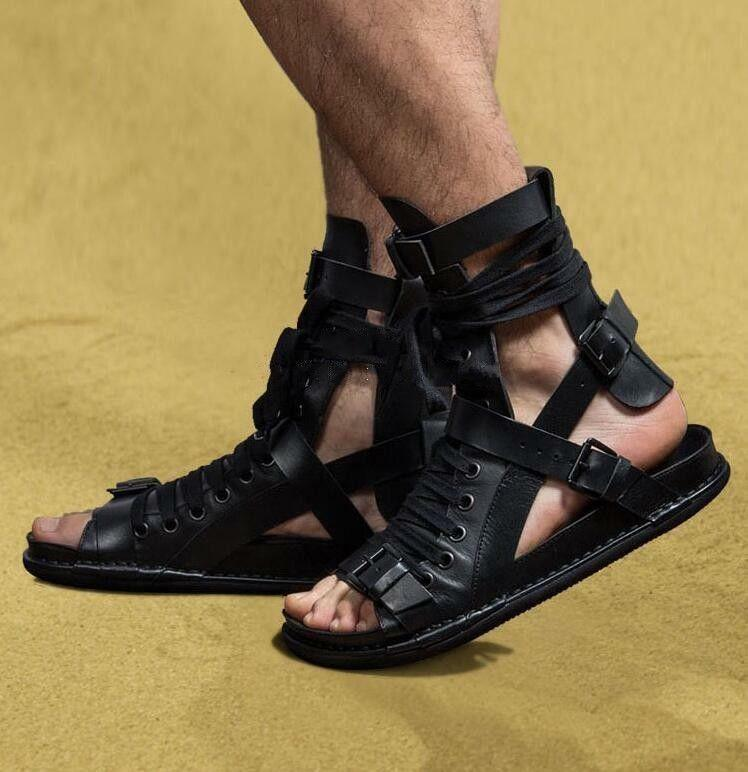 Gladiator Mens Gothic Leather Lace Up Boots Buckle Buckle Buckle Knight Roman Sandals shoes SY 7f9efa
