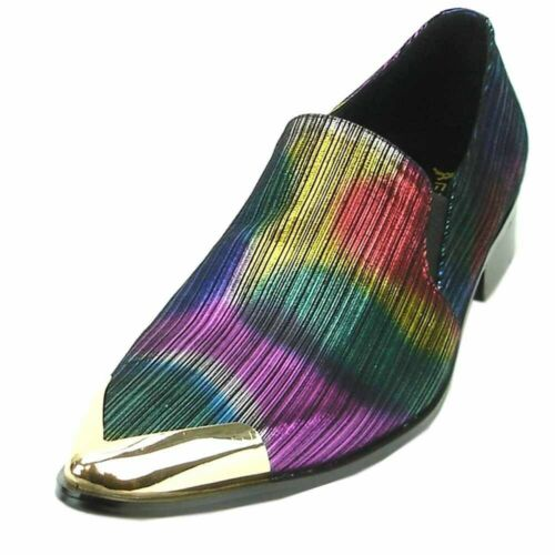 Details about  /Fiesso Men Metallic Blue Multi Color Leather Metal Cap Toe Slip On Loafer Fun...