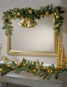 Details About 6ft 12ft Light Up Christmas Garland Gold Leaf Berry Red Poinsettia White Lights